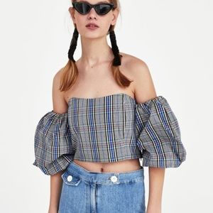 NWT Zara 💯% Cotton Plaid Cropped Top SZ Large